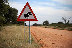 NAMIBIA GROOTFONTEIN 2MAY14 - Road sign warning of Warthogs at the Waterberg Plateau National Park near Grootfontein, Namibia.<br /> <br /> <br /> <br /> jre/Photo by Jiri Rezac<br /> <br /> <br /> <br /> © Jiri Rezac 2014