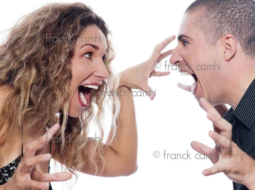 caucasian couple portrait screaming quarrel isolated studio on white background