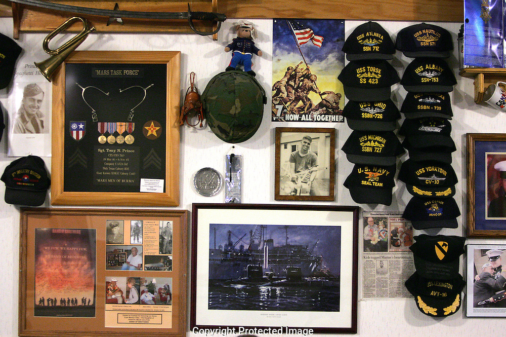 Military memorabilia from all eras hangs on the wall of Talita's Mexican Kitchen,3090 Southwest Blvd., Grove City, Ohio. The items are donated by local residents.(Jodi Miller/Alive)
