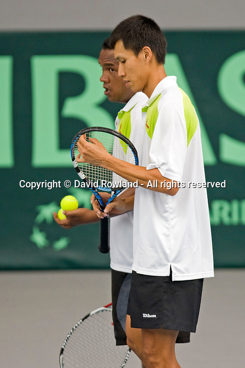 Yew Ming Si in action during the Doubles match, Davis Cup Tennis Tie, New Zealand v Malaysia, Albany Tennis Park, Auckland, Saturday, March 07, 2009. Photo: David Rowland/PHOTOSPORT