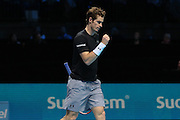 Andy Murray wins a game during the ATP World Tour Finals at the O2 Arena, London, United Kingdom on 20 November 2015. Photo by Phil Duncan.