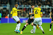 Fabian Schar (#5) of Newcastle United is challenged for the ball by Alex Rodriguez (#6) of Oxford United during the The FA Cup match between Newcastle United and Oxford United at St. James's Park, Newcastle, England on 25 January 2020.