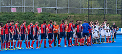 The teams shake hands before the final. Hampstead & Westminster v Surbiton - Men's Hockey League Final, Lee Valley Hockey & Tennis Centre, London, UK on 29 April 2018. Photo: Simon Parker