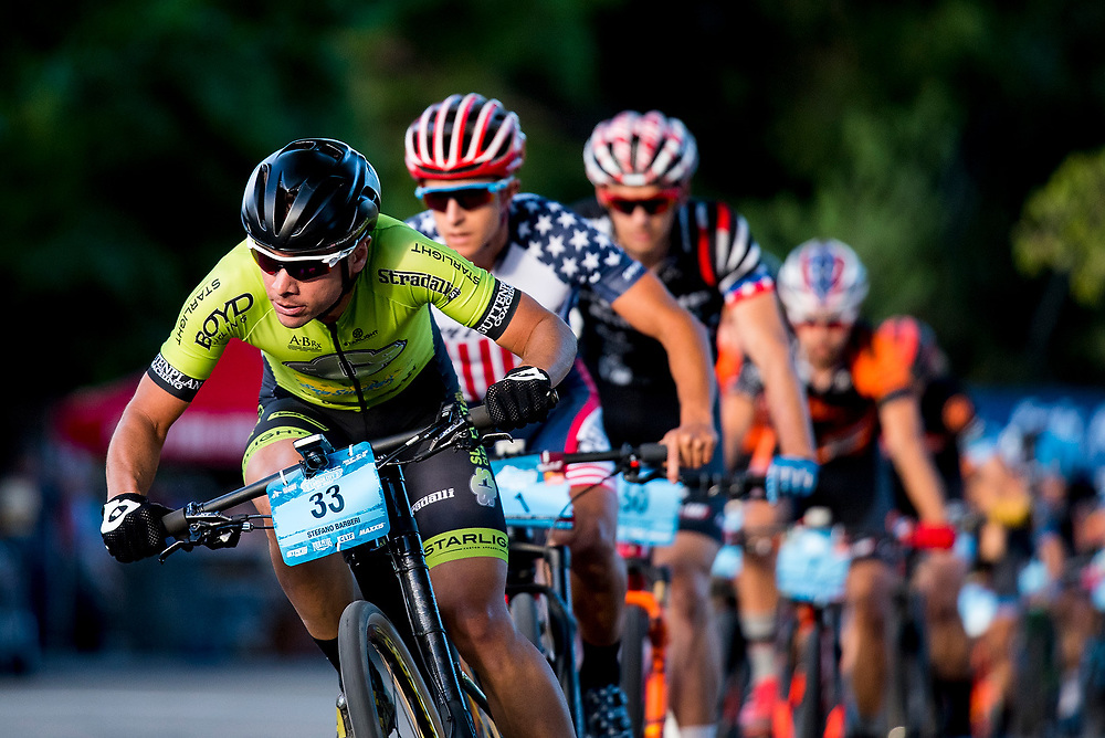 Stefano Barberi leads a group of men during the Fat Tire Crit on Friday.