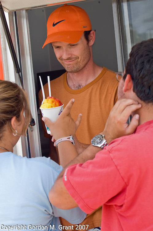 Montauk, NY - 7/21/07 - Eric Tilstra, owner of Belly's Sno Ball truck in Montauk, NY July 21, 2007.       (Photo by Gordon M. Grant)