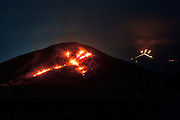 10 March 2012, 10pm. The Japanese symbol for 'fire' burns on the hillside as part of the yearly Aso Fire Festival.