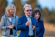 Keith Pelley, the Chief Executive Officer of the European Tour makes a short speech during the presentation ceremony of the Aberdeen Standard Investments Scottish Open at The Renaissance Club, North Berwick, Scotland on 14 July 2019.