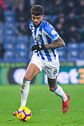 Philip Billing of Huddersfield Town (8) in action during the Premier League match between Huddersfield Town and Wolverhampton Wanderers at the John Smiths Stadium, Huddersfield, England on 26 February 2019.