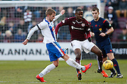 Hearts FC Midfielder Arnaud Djoum defends the attack during the Ladbrokes Scottish Premiership match between Heart of Midlothian and Kilmarnock at Tynecastle Stadium, Gorgie, Scotland on 27 February 2016. Photo by Craig McAllister.