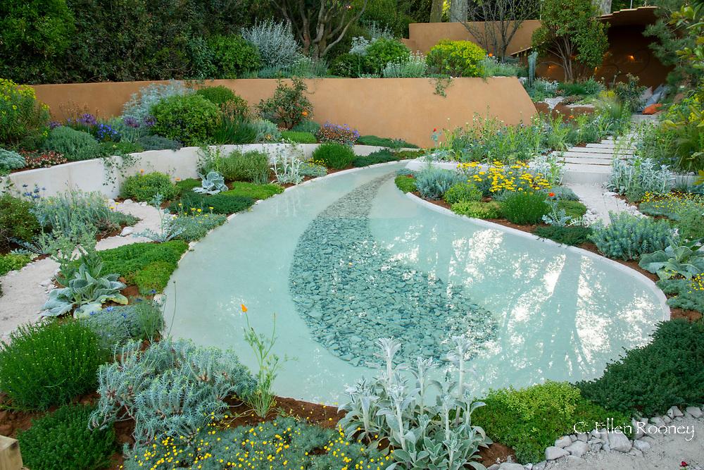 The Dubai Majilis Garden a show garden at the RHS Chelsea Flower Show 2019, London, UK