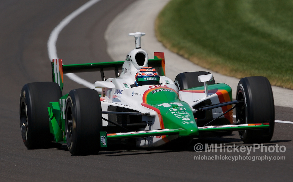 Indy Car Series driver Tony Kanaan seen on the track during practice for the Indy 500 in Speedway, Indiana on May 10, 2007.