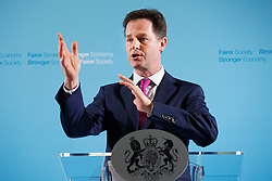 © licensed to London News Pictures. London, UK 14/04/2014. Deputy Prime Minister Nick Clegg holding a Q&A session with journalists at Dover House, London on Monday, 14 April 2014. Photo credit: Tolga Akmen/LNP
