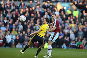 Sam Vokes of Burnley watches an early shot go wideduring the Sky Bet Championship match between Burnley and Middlesbrough at Turf Moor, Burnley, England on 19 April 2016. Photo by Simon Brady.