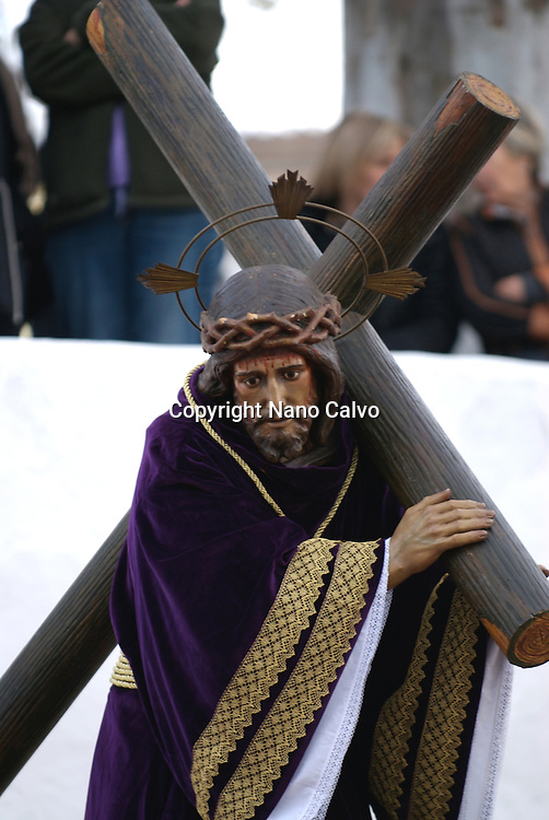 Good Friday Easter Parade in Santa Eulalia del Rio, Ibiza. They start from Puig de Missa church, that gives name to an architectural ensemble situated situated on a hilltop, and walk down through this coastal Mediterranean village