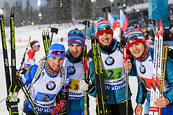 March 16, 2019 - –Stersund, Sweden - 190316 Matvey Eliseev, Nikita Porshnev, Dmitry Malyshko and Alexander Loginov of Russia celebrate after the Men's 4x7,5 km Relay during the IBU World Championships Biathlon on March 16, 2019 in Östersund..Photo: Petter Arvidson / BILDBYRÃ…N / kod PA / 92269 (Credit Image: © Petter Arvidson/Bildbyran via ZUMA Press)