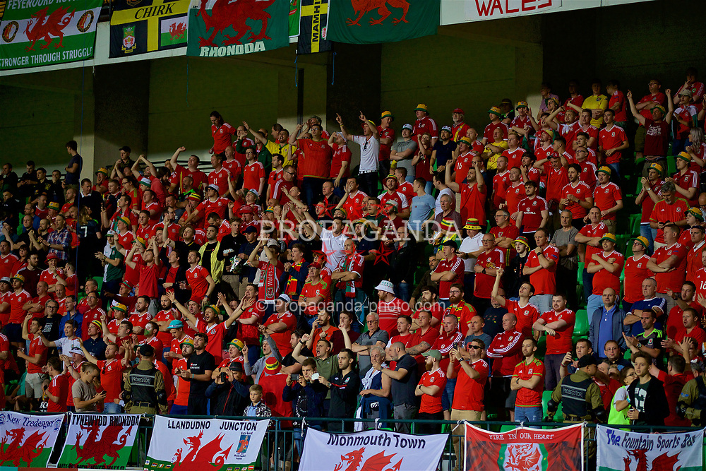CHIȘINĂU, MOLDOVA - Tuesday, September 5, 2017: Wales supporters before the 2018 FIFA World Cup Qualifying Group D match between Moldova and Wales at the Zimbru Stadium. (Pic by David Rawcliffe/Propaganda)