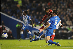 Jonathan Kodjia of Bristol City scores but it is ruled offside - Mandatory byline: Dougie Allward/JMP - 07966 386802 - 20/10/2015 - FOOTBALL - American Express Community Stadium - Brighton, England - Brighton v Bristol City - Sky Bet Championship