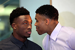 June 24, 2017 - Athens, Attica, Greece - Giannis and Thanasis Antetokounmpo at the Onassis Cultural Centre in Athens, Greece, June 24, 2017. The two brothers discussed about the difficulties they encountered during their early beginning, the many obstacles, their achievements, and the opportunities they had. Giannis Antetokounmpo (R) is a Greek professional basketball player for the Milwaukee Bucks of the National Basketball Association (NBA) and Thanasis Antetokounmpo (L) is a Greek professional basketball player for MoraBanc Andorra of the Lisa ACB  (Credit Image: © Giorgos Georgiou/NurPhoto via ZUMA Press)