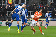 Ollie Clarke (8) of Bristol Rovers battles for possession with Matty Virtue (17) of Blackpool during the EFL Sky Bet League 1 match between Bristol Rovers and Blackpool at the Memorial Stadium, Bristol, England on 15 February 2020.