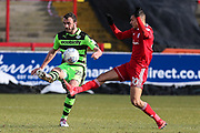 Forest Green Rovers Farrend Rawson(20) clears the ball during the EFL Sky Bet League 2 match between Accrington Stanley and Forest Green Rovers at the Wham Stadium, Accrington, England on 17 March 2018. Picture by Shane Healey.