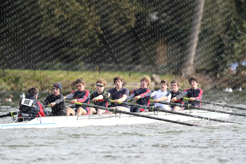 2012.02.25 Reading University Head 2012. The River Thames. Division 1. Kings College School Wimbledon Boat Club J15A 8+