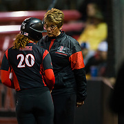 02 March 2018: San Diego State softball closes out day two of the San Diego Classic I at Aztec Softball Stadium with a night cap against CSU Northridge. San Diego State head coach Kathy Van Wyk talks with Shelby Thompson (20) after she was robbed of a home run at the wall in the bottom of the seventh inning. The Aztecs dropped a close game 2-0 to the Matadors. <br /> More game action at sdsuaztecphotos.com