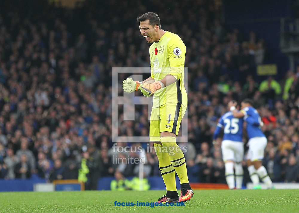 Joel Robles of Everton celebrates Romelu Lukaku's goal against West Ham United during the Premier League match at Goodison Park, Liverpool.<br /> Picture by Michael Sedgwick/Focus Images Ltd +44 7900 363072<br /> 30/10/2016