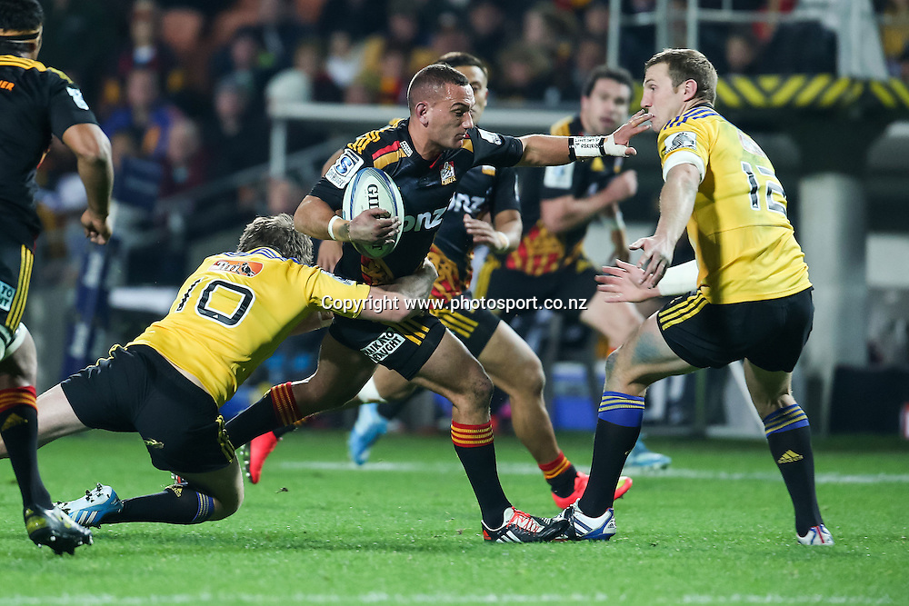 Chiefs captain Aaron Cruden in action during the Super 15 Rugby match - Chiefs v Hurricanes at Waikato Stadium, Hamilton, New Zealand on Friday 4 July 2014.  Photo:  Bruce Lim / www.photosport.co.nz