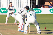 Callum Parkinson bowling to Matt Parkinson during the Specsavers County Champ Div 2 match between Leicestershire County Cricket Club and Lancashire County Cricket Club at the Fischer County Ground, Grace Road, Leicester, United Kingdom on 25 September 2019.