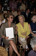 Catherine Deneuve and Nan Kempner. Yves St. Laurent couture show. Intercontinental. Paris. 11 July 2001. © Copyright Photograph by Dafydd Jones 66 Stockwell Park Rd. London SW9 0DA Tel 020 7733 0108 www.dafjones.com