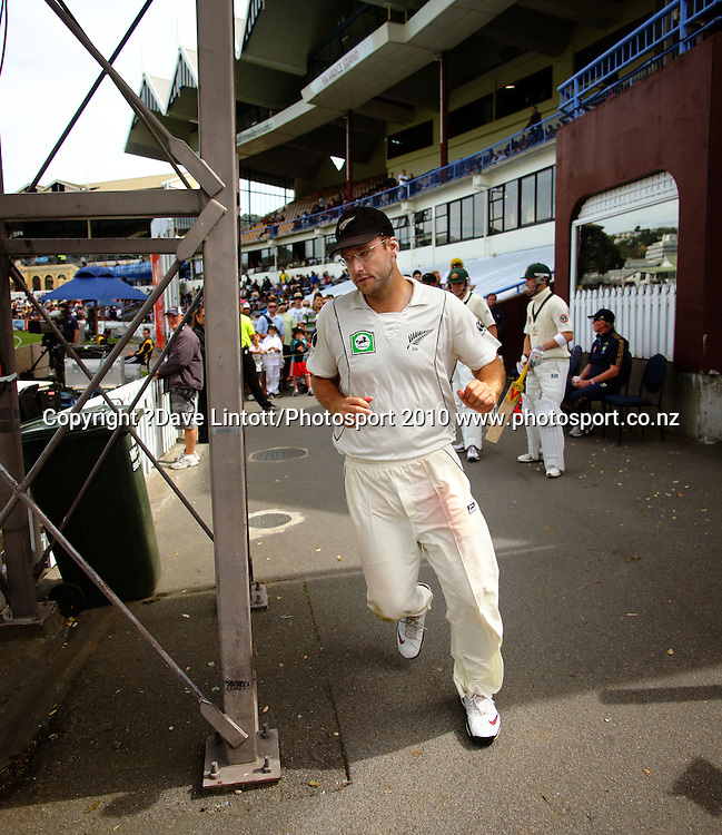NZ captain Daniel Vettori runs out after lunch, followed by Australian batsmen Michael Clarke (right) and Marcus North.<br /> 1st cricket test match - New Zealand Black Caps v Australia, day two at the Basin Reserve, Wellington.Saturday, 20 March 2010. Photo: Dave Lintott/PHOTOSPORT