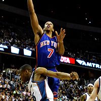 10 March 2007:   New York Knicks forward Channing Frye (7) scores 2 of his 12 points in the first half against Washington Wizards guard Antonio Daniels (6) at the Verizon Center in Washington, D.C.  The Knicks defeated the Wizards 90-89.