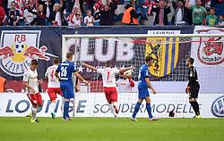 11.09.2015, Red Bull Arena, Leipzig, GER, 2. FBL, RB Leipzig vs SC Paderborn 07, 6. Runde, im Bild Paderborns Torwart Lukas Kruse (r.) ist machtlos und schaut dem Ball beim 2:0 Tor hinterher. // during the 2nd German Bundesliga 6th round match between RB Leipzig and SC Paderborn 07 at the Red Bull Arena in Leipzig, Germany on 2015/09/11. EXPA Pictures &copy; 2015, PhotoCredit: EXPA/ Eibner-Pressefoto/ Modla<br /> <br /> *****ATTENTION - OUT of GER*****
