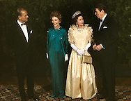 Queen Elizabeth II and the Duke of Edinborough and the Reagans pose for a photograph during the visit of Queen Elizabeth II to California in March 1983...Photograph by Dennis Brack bb23