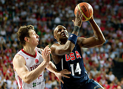 Omer Asik of Turkey vs Lamar Odom of USA during the finals basketball match between National teams of Turkey and USA at 2010 FIBA World Championships on September 12, 2010 at the Sinan Erdem Dome in Istanbul, Turkey.   (Photo By Vid Ponikvar / Sportida.com)