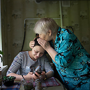 Natasha with her grandmother Zoya in Horlivka. Life in Horlivka, eastern Ukraine has become very difficult as the city remains under rebel control.
