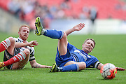 Kevin Roberts (Halifax)is fouled during the FA Trophy match between Grimsby Town FC and Halifax Town at Wembley Stadium, London, England on 22 May 2016. Photo by Mark P Doherty.