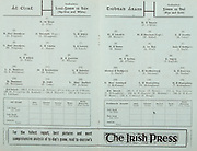 All Ireland Senior Hurling Championship Final,.03.09.1961, 09.03.1961, 3rd September 1961,.Minor Tipperary v Kilkenny, .Senior Dublin v Tipperary, Tipperary 0-16 Dublin 1-12,..The Irish Press, ..J Grey, D Ferguson, N Dromgoogle, L Foley, W Ferguson, C Hayes, S Lynch, D Foley, F Whelan,  LA Boothman, M Bohan, L Shannon, B Boothman, P Croke, W Jackson, E Malone, S O'Brien, M Kennedy, P Maycock, J Lenihan, ...D O'Brien, M Hassett, M Maher, K Carey, M Burns, A Wall, J Doyle, M O'Gara, T English, J Doyle, L Devaney, D Nealon, J McKenna, W Moloughney, T Moloughney, T Ryan, S McLoughlin,  R Mounsey, P Ryan, S Hough,