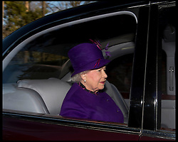 The Queen attends Church on the Sandringham estate, Sandringham, Norfolk, United Kingdom. Sunday, 29th December 2013. Picture by Andrew Parsons / i-Images