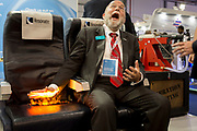 A demonstration by Resonate Testing Ltd. to illustrate that they test and contribute with the certification of fire-retardent airline seat materials, at the Farnborough Airshow, on 16th July 2018, in Farnborough, England. (Photo by Richard Baker / In Pictures via Getty Images)