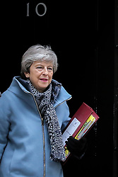 March 27, 2019 - London, UK, United Kingdom - Prime Minister Theresa May is seen departing from Number 10 Downing Street for the House of Commons. Theresa May told the backbench Tory MPs this evening that she will stand down if they back her EU withdrawal deal. (Credit Image: © Dinendra Haria/SOPA Images via ZUMA Wire)