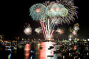 Lathan Goumas for the Midland Daily News..The final display of the 50th Bay City Fireworks Festival seen from Liberty Bridge in Bay City, Mich, on Saturday, July 7, 2012. In celebration the festival planned to fire off 50,000 fireworks in 50 minutes on the final day of the three day event.