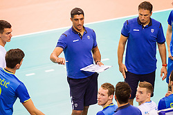25.09.2015, MHP Aren, Ludwigsburg, GER, Volleyball Vier Nationen Turnier, Slowenien vs Serbien, im Bild Andrea Giani (Slowenien/Slovenia) // during the match between Slovenia and Serbia of the Volleyball four Nations Tournament at the MHP Aren in Ludwigsburg, Germany on 2015/09/25. EXPA Pictures © 2015, PhotoCredit: EXPA/ Eibner-Pressefoto/ Wuechner<br /> <br /> *****ATTENTION - OUT of GER*****