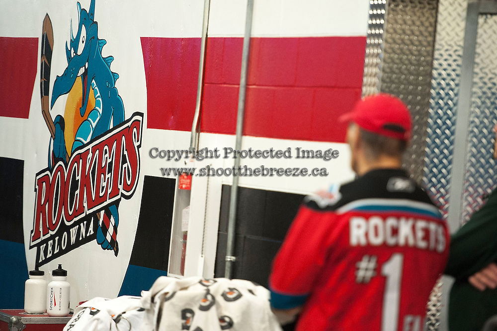 KELOWNA, CANADA - OCTOBER 23: A Kelowna Rockets fan stands outside the dressing room on October 23, 2015 at Prospera Place in Kelowna, British Columbia, Canada.  (Photo by Marissa Baecker/Shoot the Breeze)  *** Local Caption *** fan