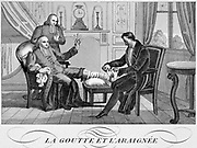 Physician attending a gouty clerical patient. Illustration for 'Gout and the Spider' from a French edition of La Fontaine 'Fables' published c1835.