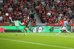 26.08.2015, BayArena, Leverkusen, GER, UEFA CL, Bayer 04 Leverkusen vs Lazio Rom, Playoff, R&uuml;ckspiel, im Bild Neuzugang Admir Mehmedi (Bayer 04 Leverkusen #14) mit dem Tor zum 2:0 gegen Etrit Berisha (Lazio Rom #99) // during UEFA Champions League Playoff 2nd Leg match between Bayer 04 Leverkusen and SS Lazio at the BayArena in Leverkusen, Germany on 2015/08/26. EXPA Pictures &copy; 2015, PhotoCredit: EXPA/ Eibner-Pressefoto/ Schueler<br /> <br /> *****ATTENTION - OUT of GER*****