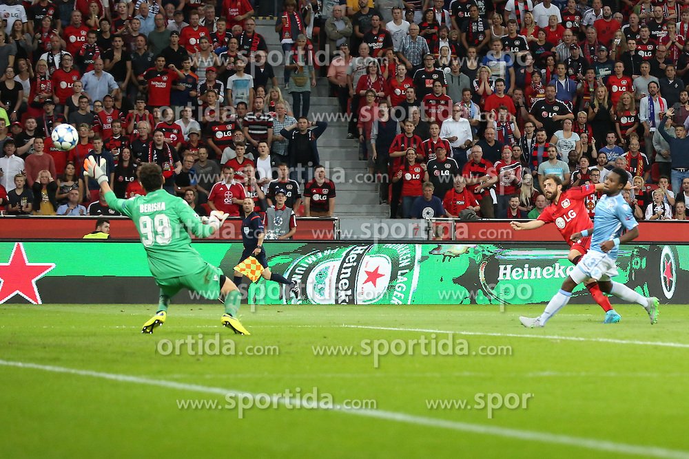 26.08.2015, BayArena, Leverkusen, GER, UEFA CL, Bayer 04 Leverkusen vs Lazio Rom, Playoff, R&uuml;ckspiel, im Bild Neuzugang Admir Mehmedi (Bayer 04 Leverkusen #14) mit dem Tor zum 2:0 gegen Etrit Berisha (Lazio Rom #99) // during UEFA Champions League Playoff 2nd Leg match between Bayer 04 Leverkusen and SS Lazio at the BayArena in Leverkusen, Germany on 2015/08/26. EXPA Pictures &copy; 2015, PhotoCredit: EXPA/ Eibner-Pressefoto/ Schueler<br /> <br /> *****ATTENTION - OUT of GER*****