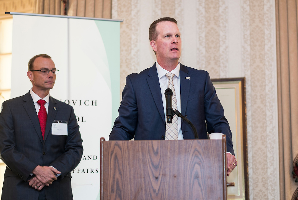 John Born addresses attendees at the Ohio University State Government Alumni Luncheon after being named the Oustanding State Government Alumnus on Tuesday, May 5, 2015.  Photo by Ohio University  /  Rob Hardin