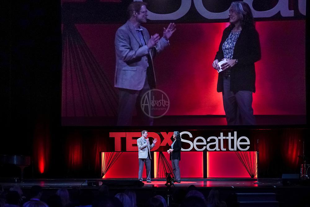 Tall Order TEDx Seattle 2018. John Kaufmann (TedX Seattle Interactive Host) and Deborah Wang (TedX Seattle Host). Photo by Alabastro Photography.