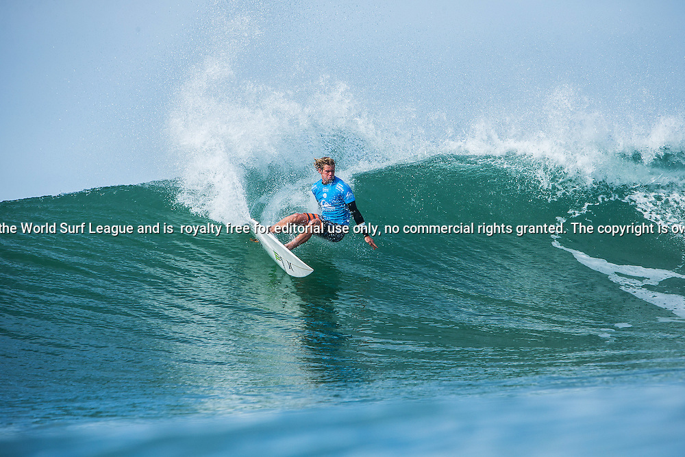 John John Florence of Hawaii (pictured) winning his Round 3 heat of the Quiksilver Pro France on Saturday October 10, 2015.